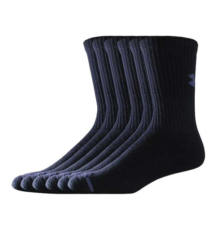 6 Pack Grey Cotton Crew Socks Under Armour Charged 2.0