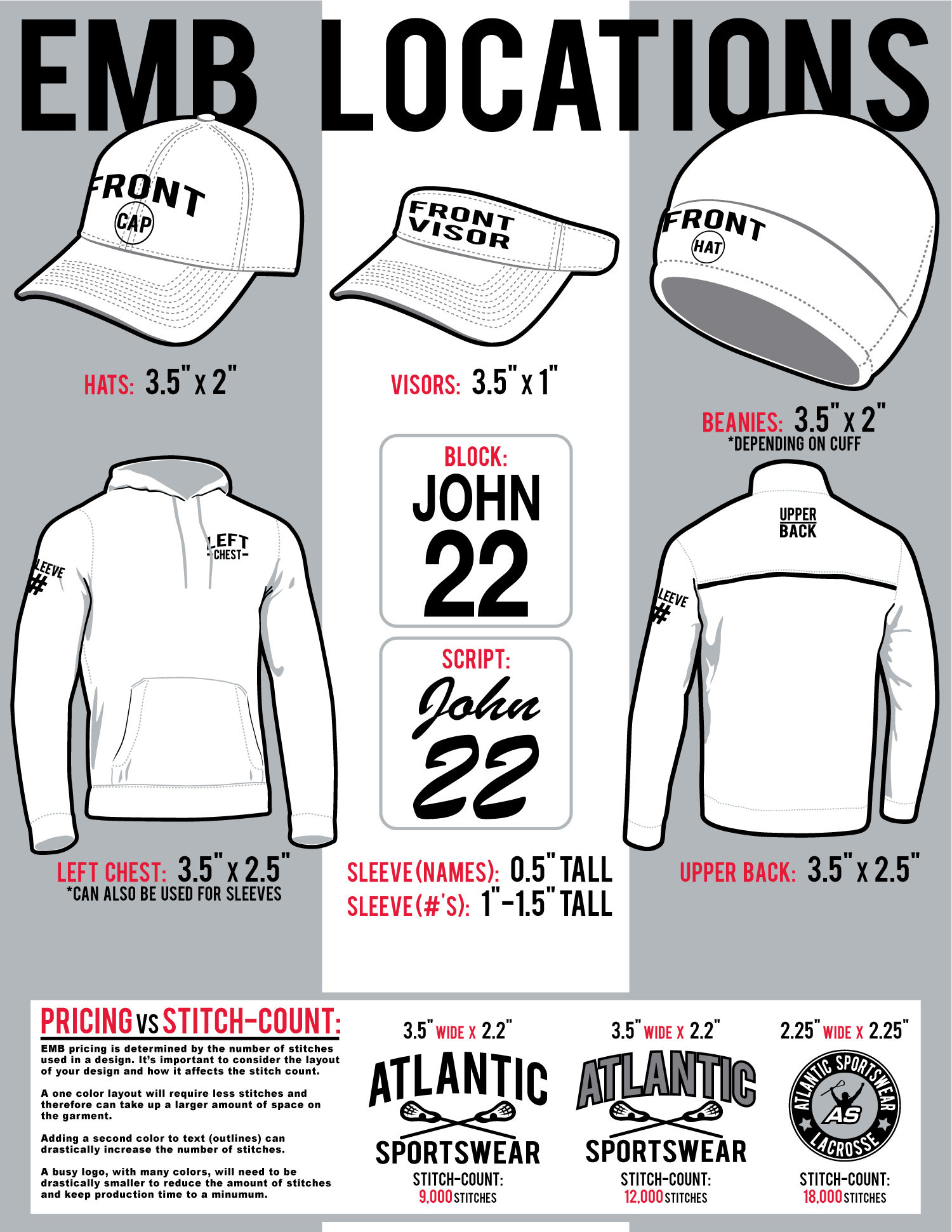 Embroidery Size And Locations Atlantic Sportswear